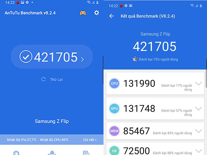 Điện thoại Samsung Galaxy Z Flip | Điểm Antutu Benchmark