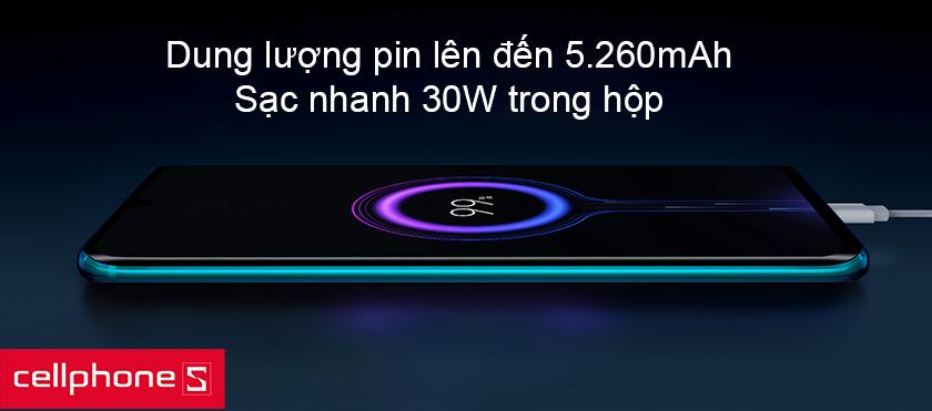 Pin Mi Note 10 Pro có dung lượng lên đến 5.260mAh, kèm chuẩn sạc nhanh 30W