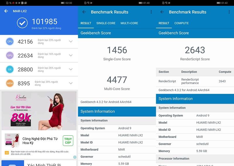Điểm Antutu Benchmark của điện thoại Huawei P30 Lite chính hãng