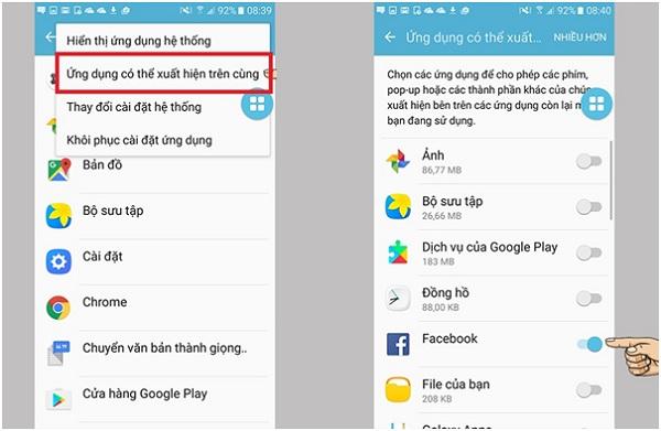 Chọn tắt ứng dụng cho phép thông báo của lớp phủ màn hình