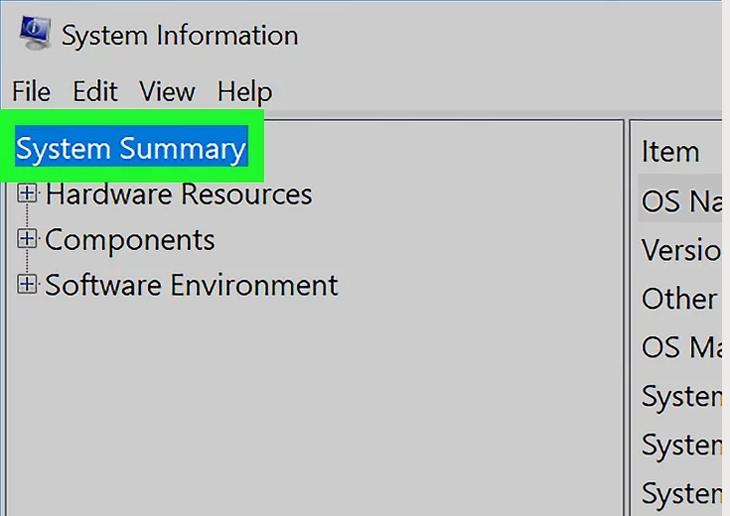 Nhấp vào lệnh System Summary