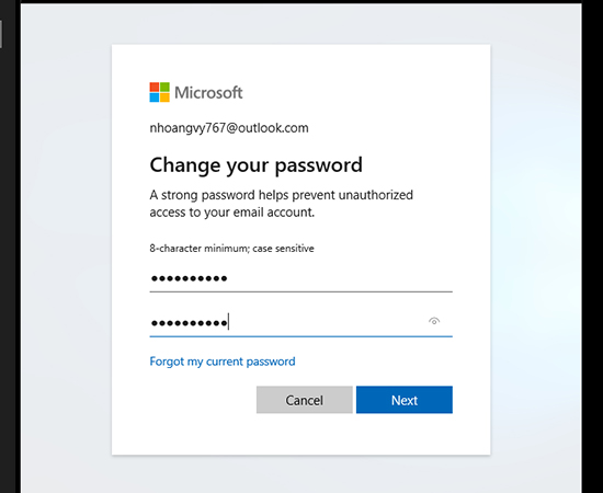 Bước 4: Tại đây các bạn nhập vào mật khẩu cũ và mật khẩu mới sau đó chọn Next.