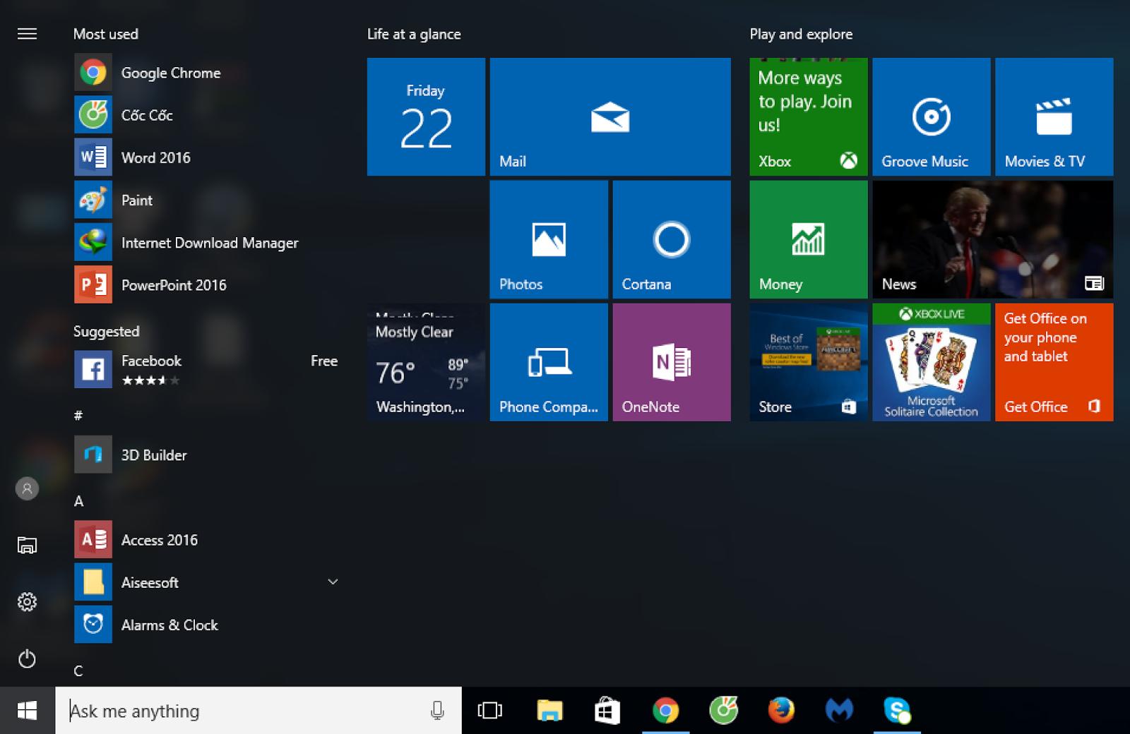 Tăng tốc độ khởi động của Menu Start trong Windows 10