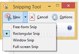 Các tùy chọn chụp ảnh của Snipping Tool