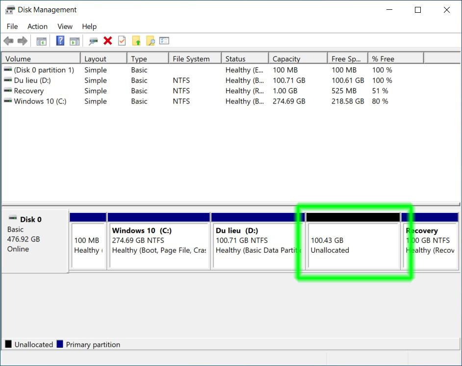 Cách gộp ổ đĩa trong Windows 10 05