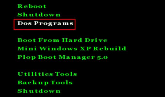 Chọn Dos Programs