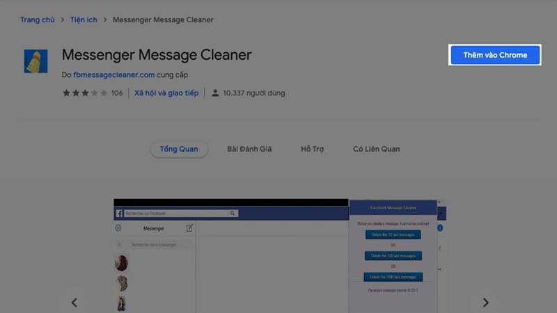 Xoá tin nhắn messenger