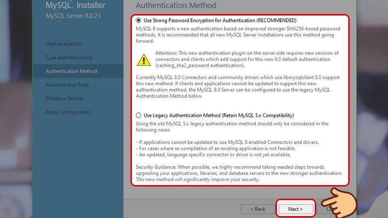Tại mục Phương thức chứng thực (Authentication method) chọn đặt mật khẩu khi sử dụng hay sử dụng chung