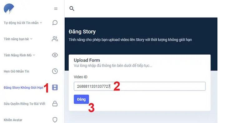 Dán URL video đã copy ở bước 2 vào ô Video ID/URL và bấm nút Đăng.