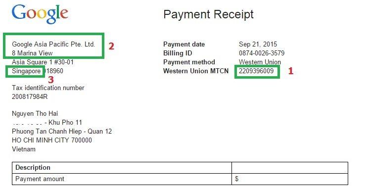 Hóa đơn chuyển tiền qua Western Union