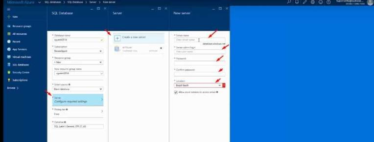 Hướng dẫn cách tạo server và database trên Microsoft Azure