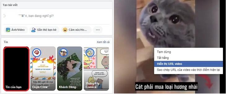 Chọn video muốn đăng lên bảng tin, click chuột phải chọn tiếp hiển thị URL video