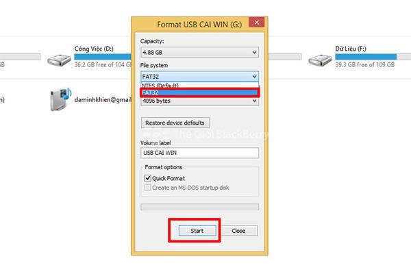 Nhấn chọn START để bắt đầu quá trình tạo USB Boot cài Win 10