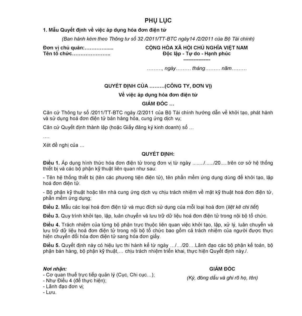 Mẫu 01: Mẫu Quyết định về việc áp dụng hóa đơn điện tử