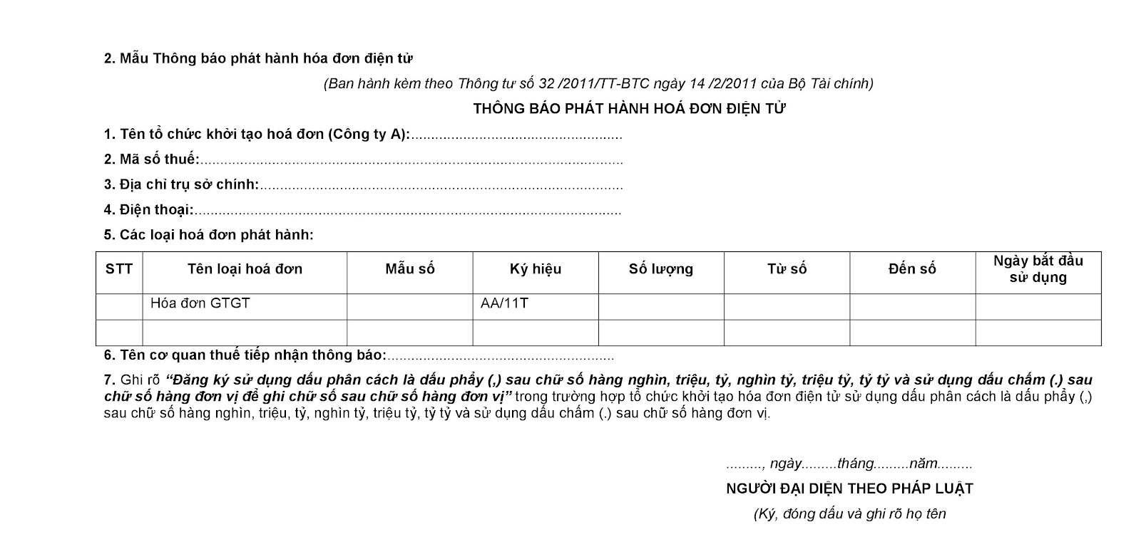 Mẫu 02: Thông báo phát hành hóa đơn điện tử