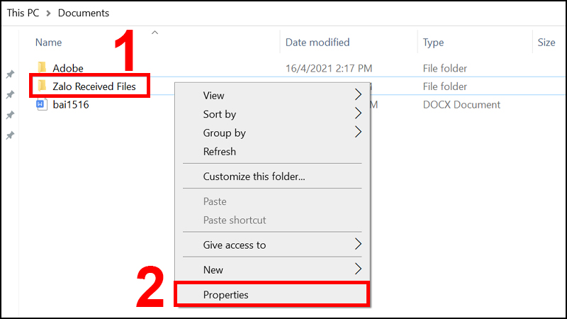 Nhấn chuột phải vào Folder và chọn Properties