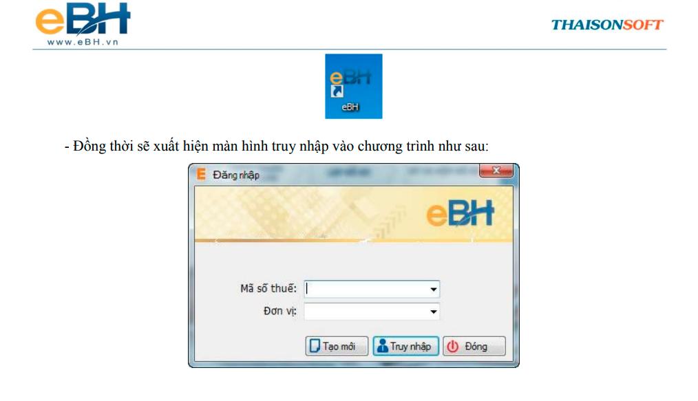 Biểu tượng của chương trình của BHXH điện tử eBH hiển thị ngoài desktop.