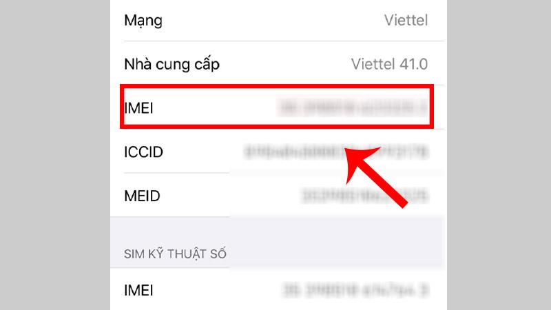 Bước 2: Khi bạn kéo xuống phần IMEI. Tại đây bạn sẽ xem được số IMEI của mình