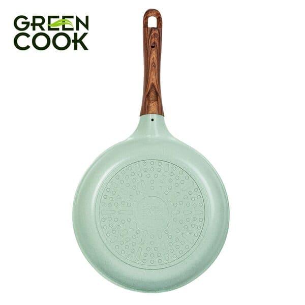 Chảo đúc đáy từ chống dính men đá ceramic xanh ngọc 20 cm Green Cook G