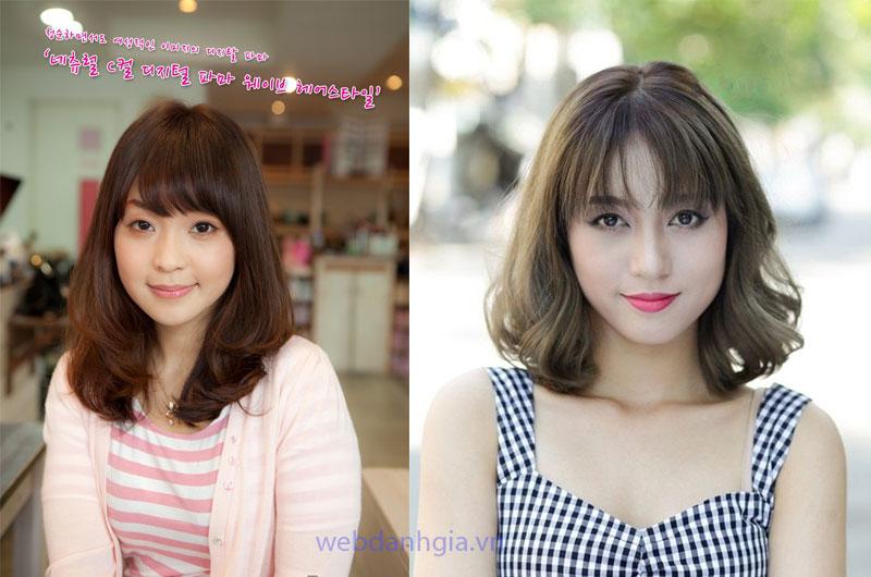 Kiểu tóc layer nữ ngang vai uốn đuôi phù hợp bạn có khuôn mặt tròn