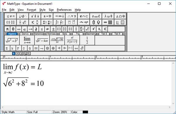 Giao diện làm việc chính trên Mathtype 7.4.2