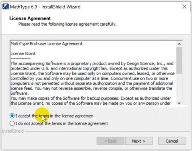 Nhấn chọn accept để tiếp tục cài đặt Mathtype 6.9 mới nhất