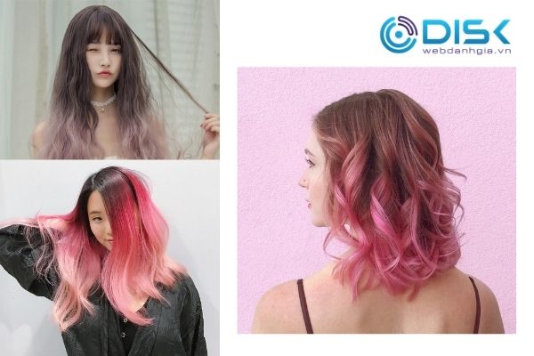 Tóc layer nữ ombre phối tông hồng