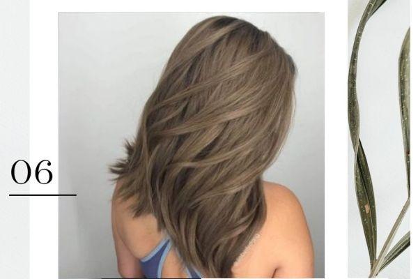 Tóc layer nữ màu nâu tây