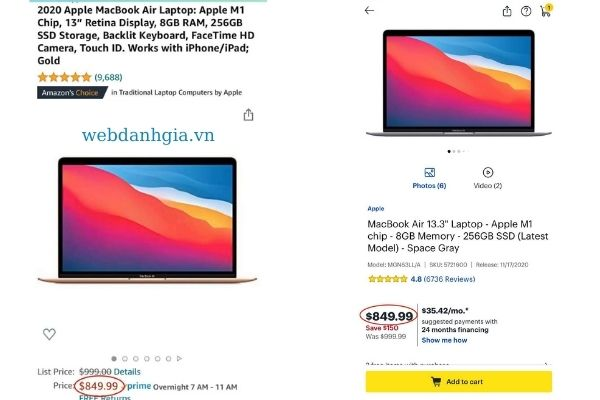Giá của Macbook Air 2020 giảm đáng kể