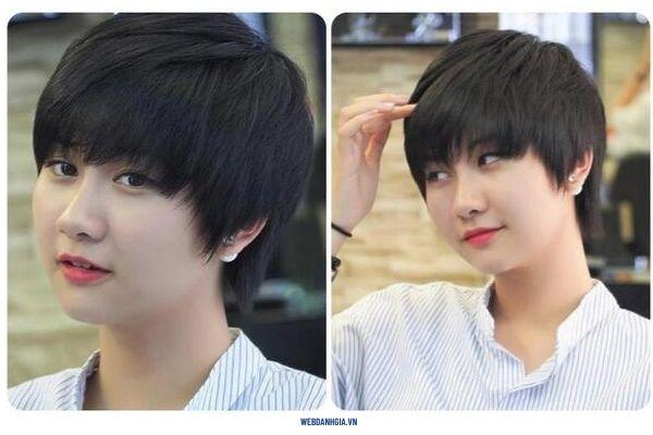 Kiểu tóc ngắn nữ đẹp cho mặt tròn tạo hiệu ứng cho mặt nhỏ gọn hơn